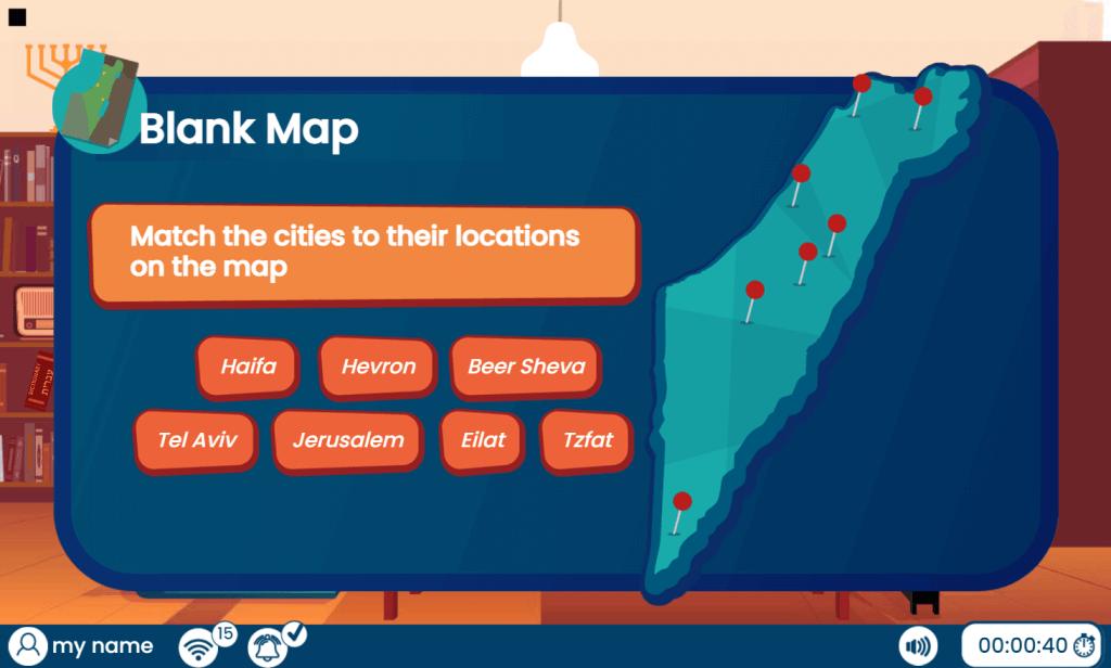 דוגמה לתחנת מפת ארץ ישראל במשחק חדר הבריחה בן גוריון