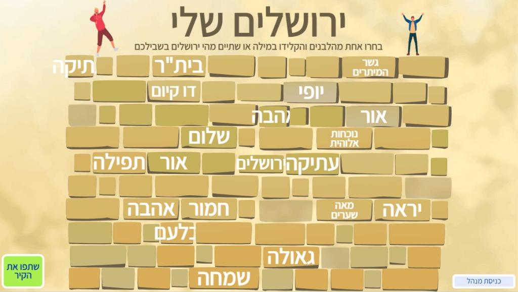 קיר האחדות שיתוף חברתי ופתיחה לדיון בנושא ירושלים ויום האחדות גיבוש קבוצתי