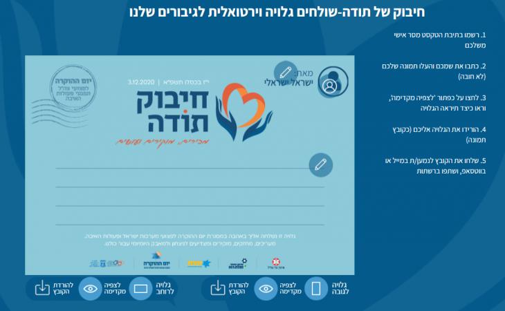 עמוד נחיתה ויצירת גלויה לגיבורי ישראל ביום ההוקרה